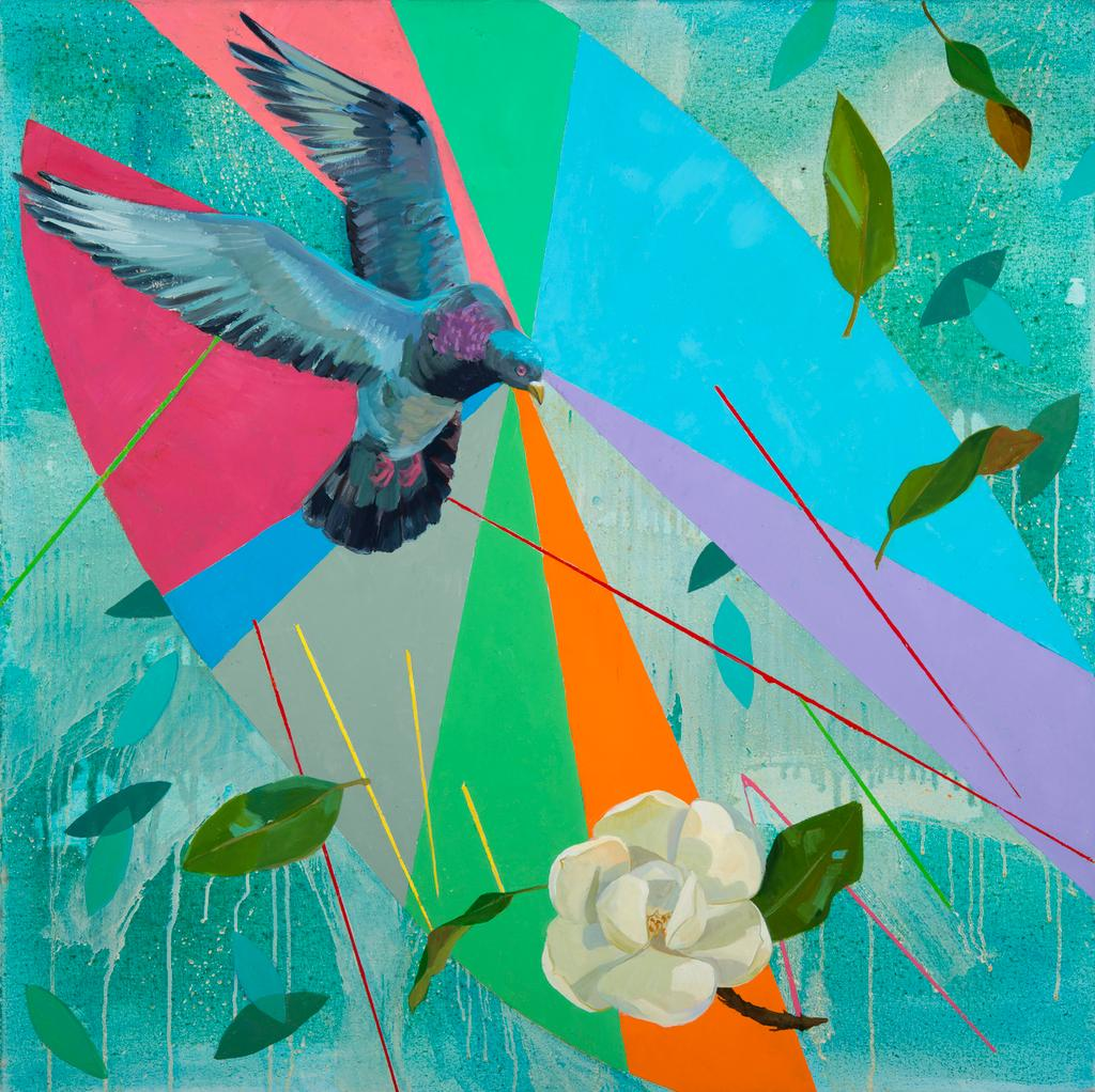Song Catcher: contemporary abstract landscape painting, blue sky bird & flower