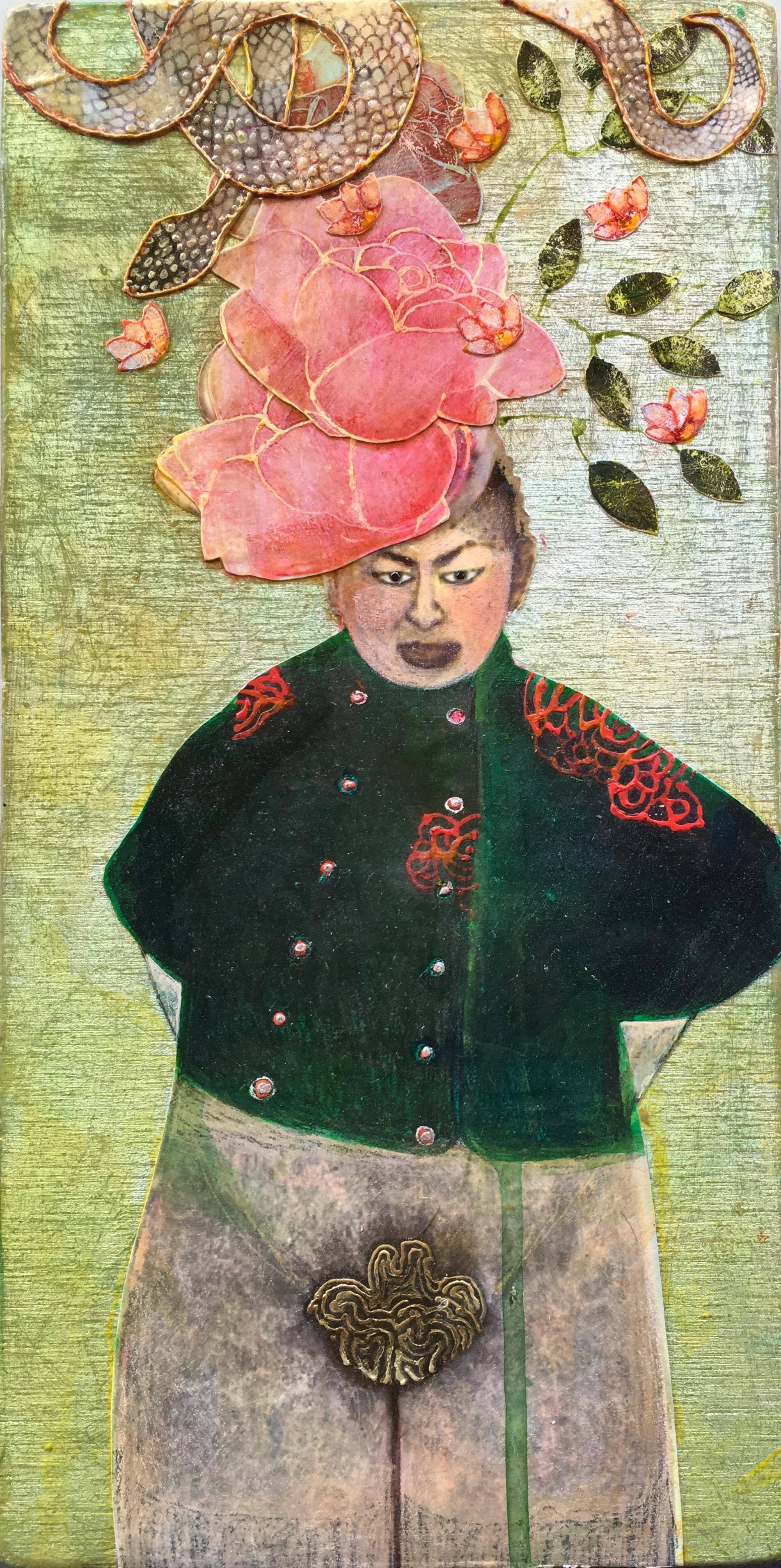 Comme des Garçons, portrait of woman in green jacket and pink floral headpiece