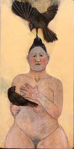 Eve and the Birds, mixed media portrait of nude woman with crows