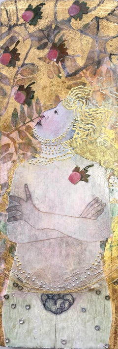 Golden Eve, portrait of Eve in the Garden of Eden, mixed media on panel, nude