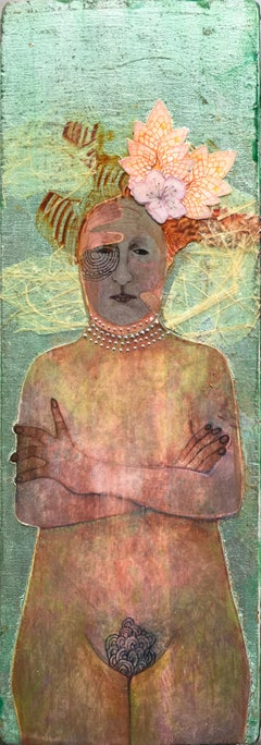 Guard, nude portrait of woman with floral headpiece, green, mixed media on panel