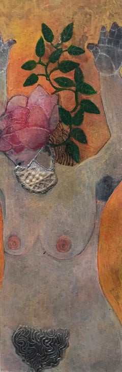 Masked Rose, mixed media portrait of woman with headpiece, orange and pink