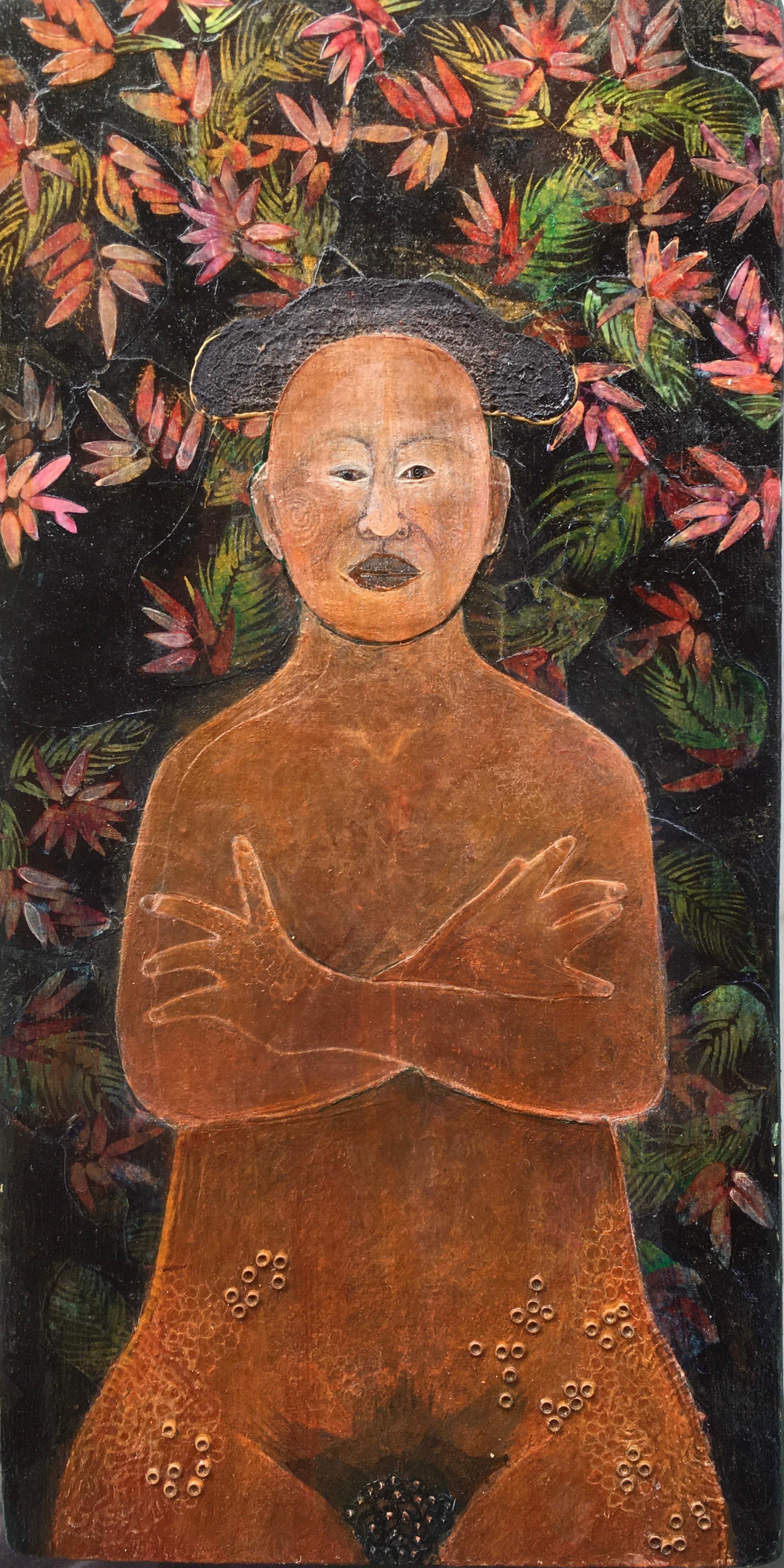 Matador, mixed media portrait of nude woman in dark garden