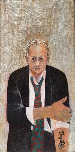 "Poet, mixed media portrait of woman in suit, 13"" x 6.5"""