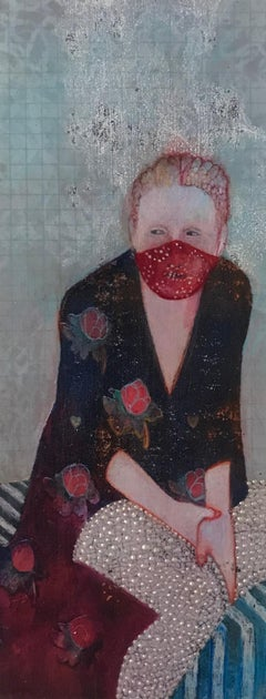 Robed Eve #3, mixed media portrait of woman in floral robe, work on paper