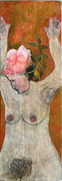 Rose, portrait of nude woman with floral headpiece, mixed media on panel