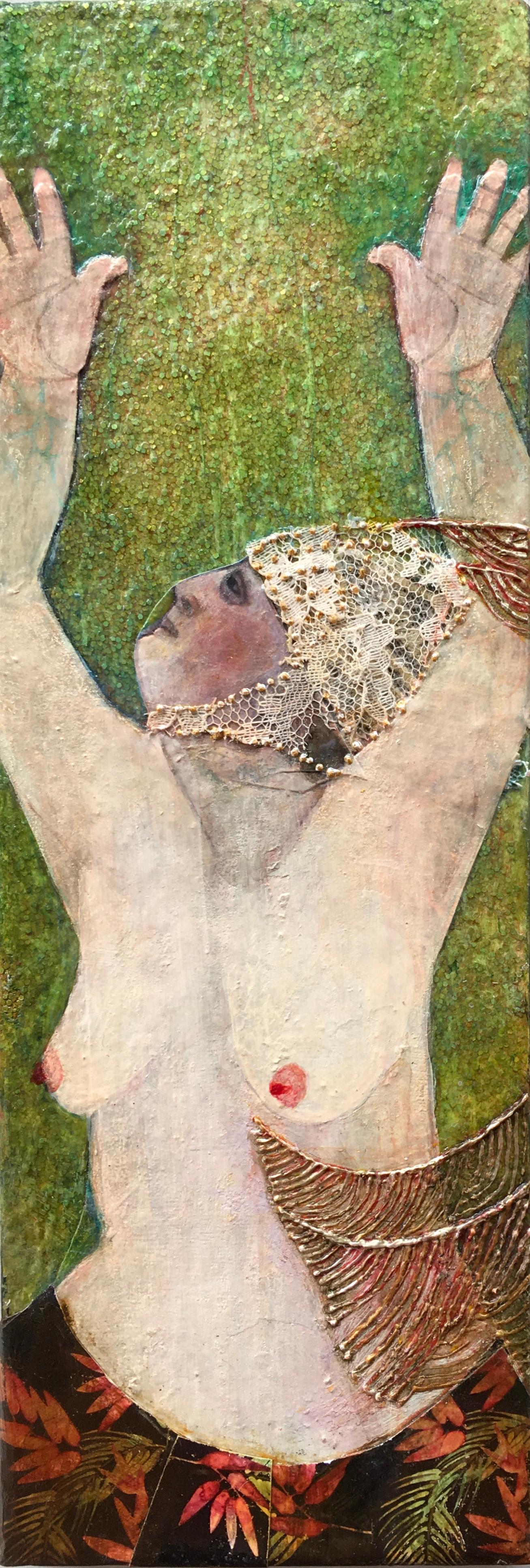 Showgirl, nude portrait of performer, green and red, mixed media on panel