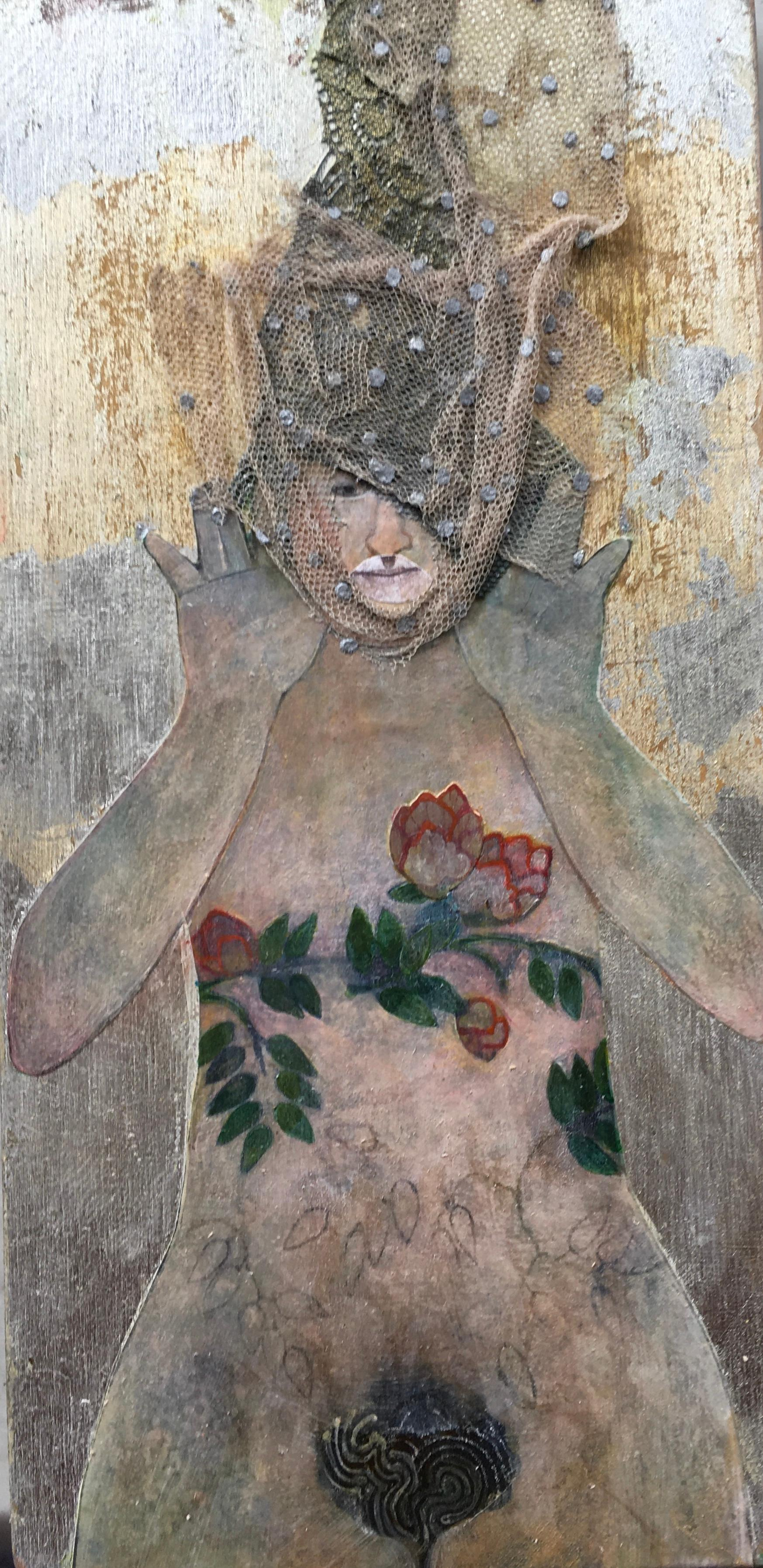 Silver Eve, mixed media portrait of woman with flowers, neutral colors