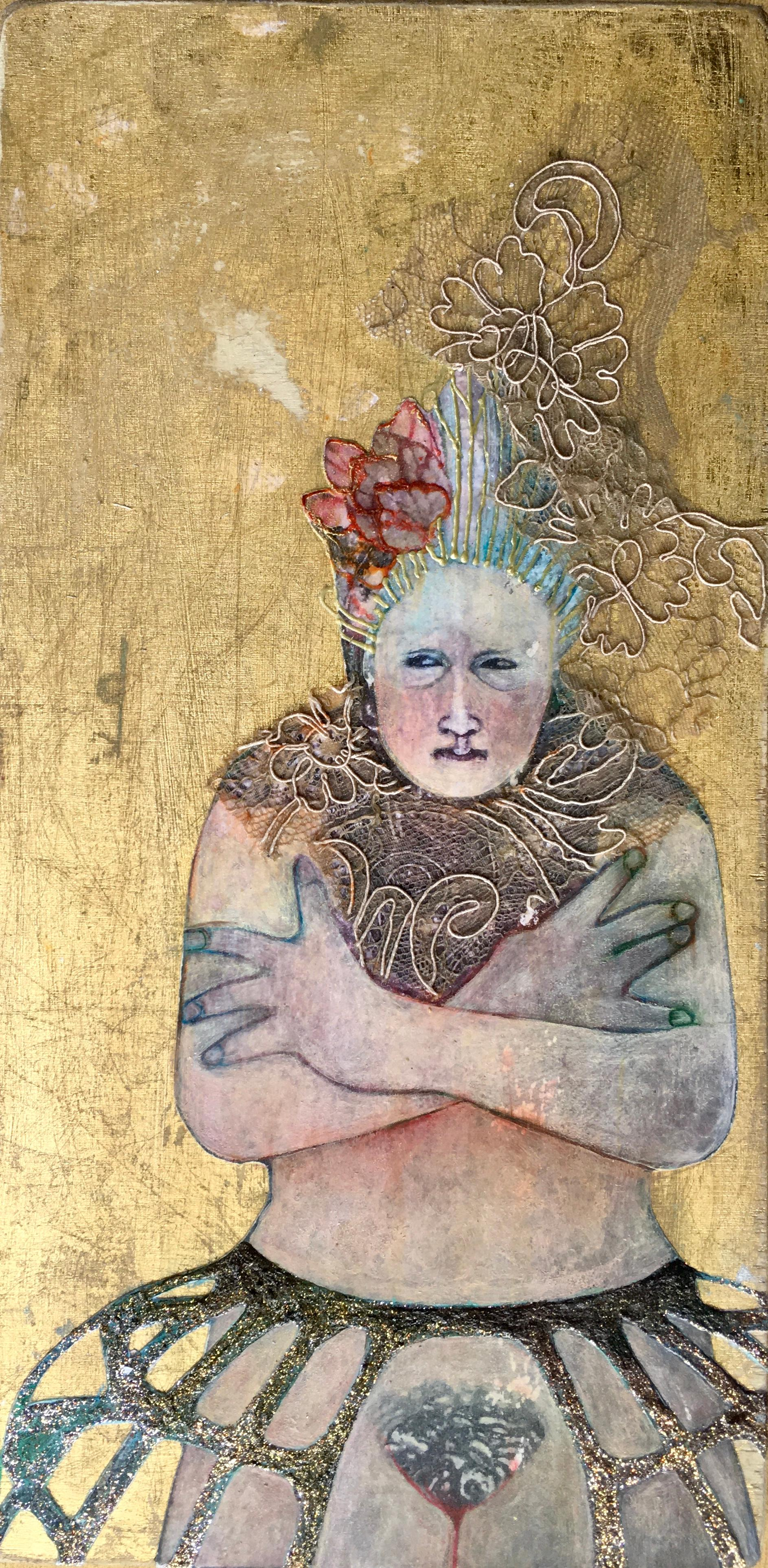 White Queen, mixed media portrait of nude woman with feather headpiece