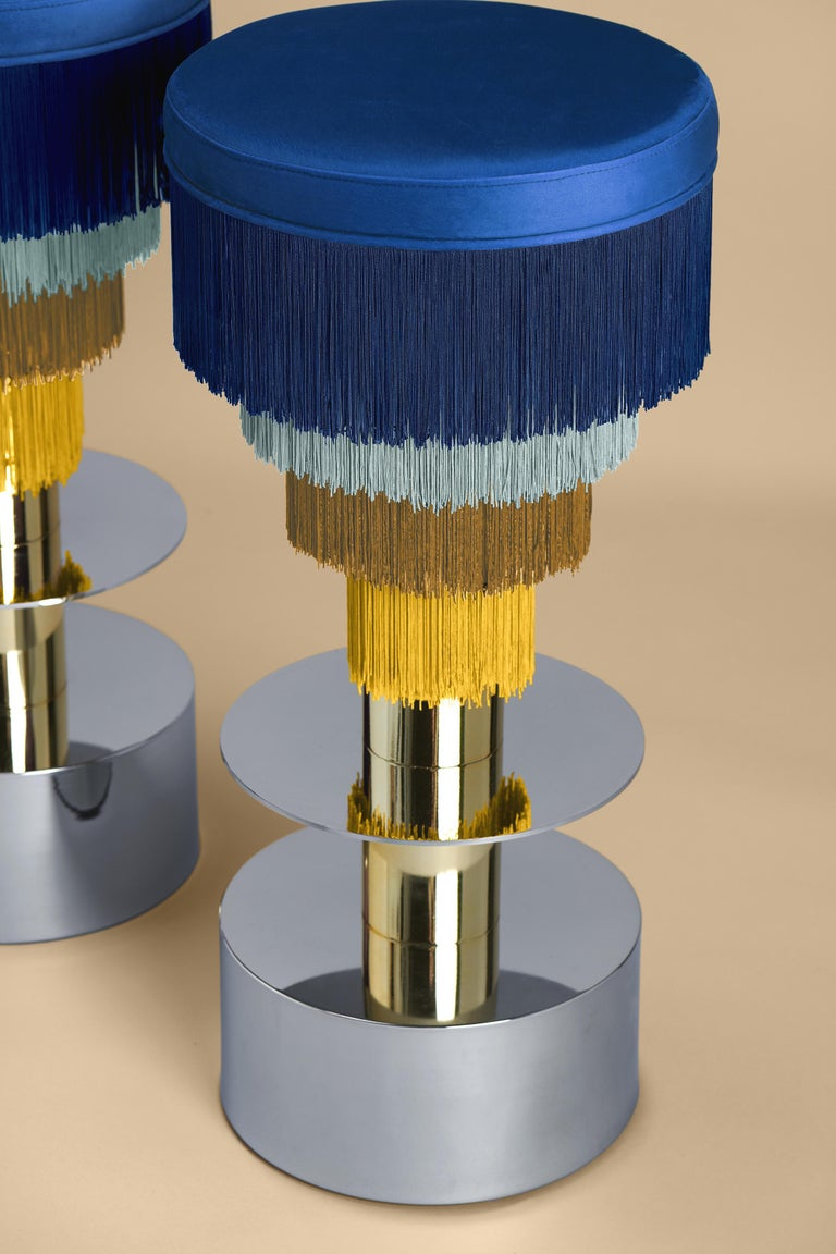 Other Deja Vu Blue and Yellow Stool with 24-Karat Gold-Plated Metal and Velvet Fringes For Sale