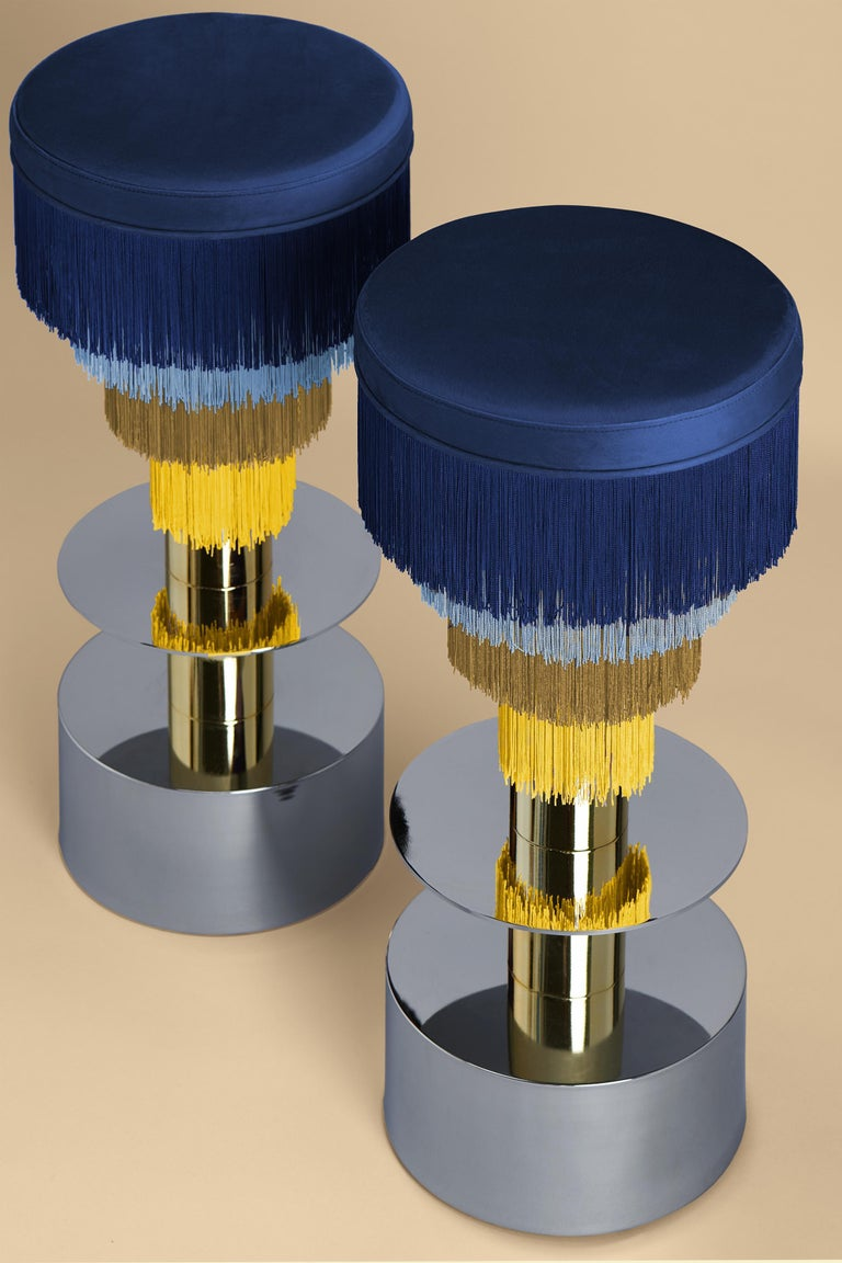 Spanish Deja Vu Blue and Yellow Stool with 24-Karat Gold-Plated Metal and Velvet Fringes For Sale