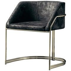 Déjà Vu Chair in Black Split Leather and Polished Brass