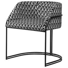 Déjà Vu Chair in Optical Black and White Velvet and Matte Black Metal
