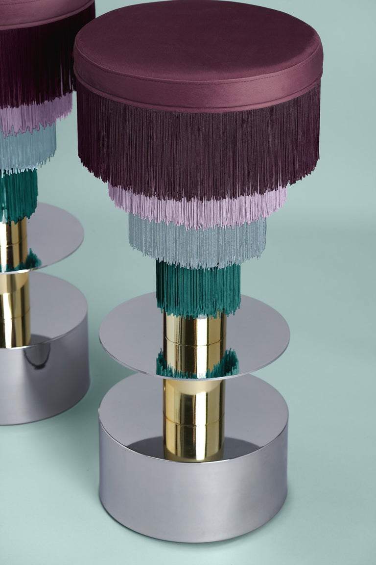 Other Deja Vu Wine and Pink Stool with 24-Karat Gold-Plated Metal and Velvet Fringes For Sale