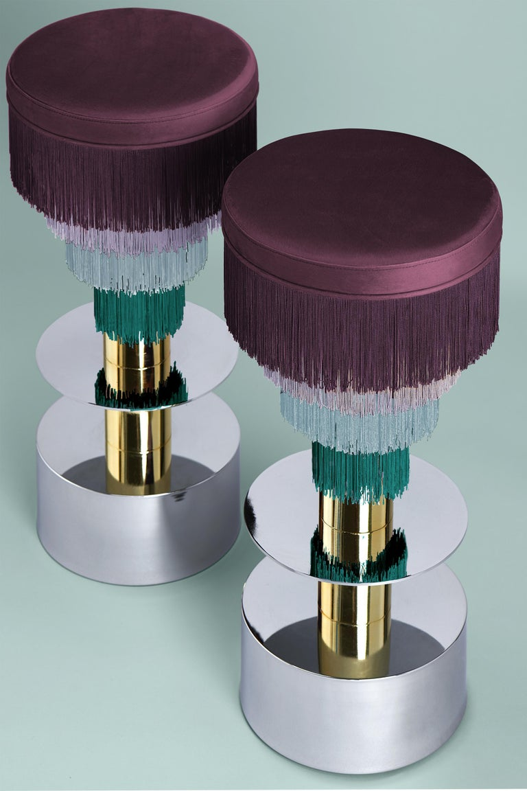 Spanish Deja Vu Wine and Pink Stool with 24-Karat Gold-Plated Metal and Velvet Fringes For Sale