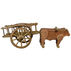 1940s Wooden Oxcart Pull Toy by Dejou , France