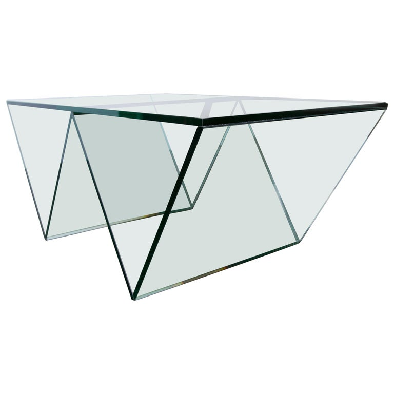 Del Mar Coffee Table in Clear Glass by Mtharu For Sale