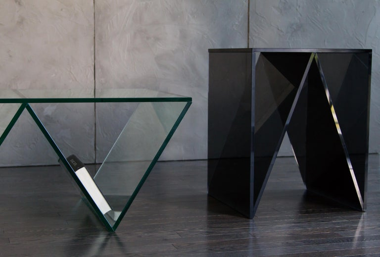 Minimalist Del Mar Side or End Table in Smoked Grey Glass by Mtharu For Sale