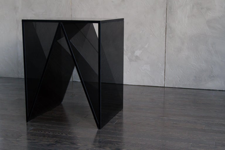 Canadian Del Mar Side or End Table in Smoked Grey Glass by Mtharu For Sale