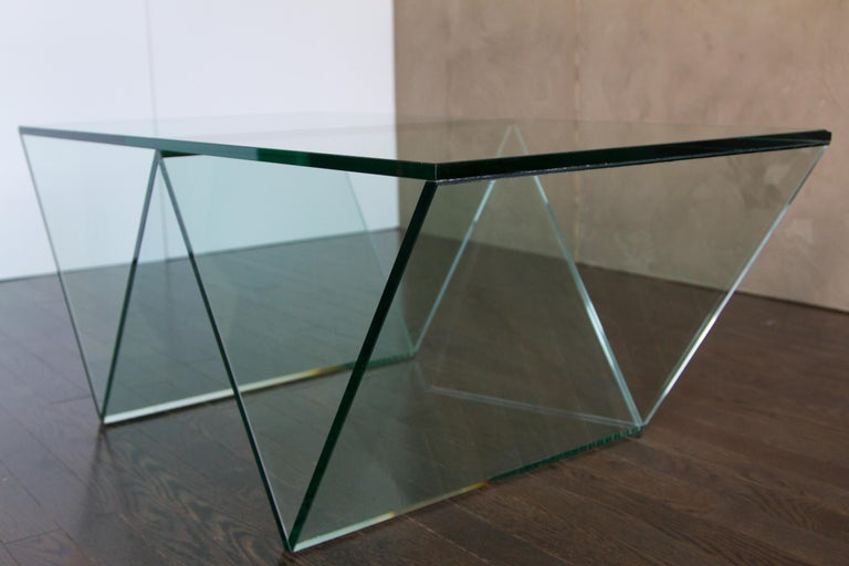 Beveled Del Mar Side or End Table in Smoked Grey Glass by Mtharu For Sale