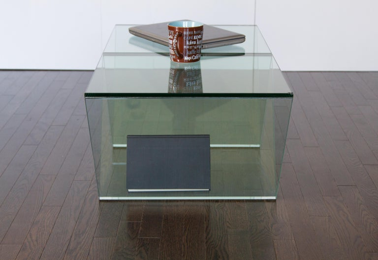 Smoked Glass Del Mar Side or End Table in Smoked Grey Glass by Mtharu For Sale