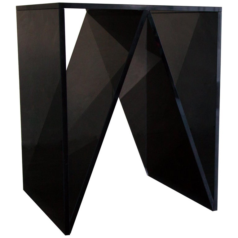 Del Mar Side or End Table in Smoked Grey Glass by Mtharu For Sale