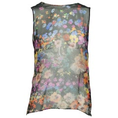 Del Poza Black and Multi Floral Print Silk Chiffon Top - 36