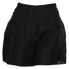 Del Pozo Black Short Paper & Cotton Culottes W/ Sheer Inserts 44 EU