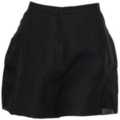 Del Pozo Black Short Paper & Cotton Culottes W/ Sheer Inserts