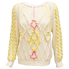 Del Pozo Ivory Cotton Cable Knit Sweater W/ Metallic Pink & Yellow Yarn Large