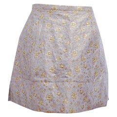Del Pozo Sky Blue Skirt Embroidered Floral w/ Gold Metallic Threads