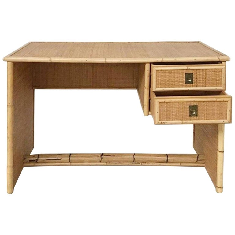 Del Vera Italian Bamboo and Wicker-Rattan Desk For Sale