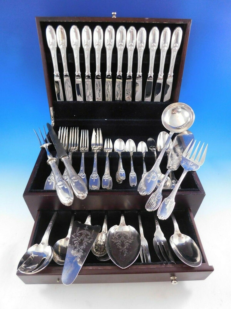 Delafosse by Christofle French silver plate flatware set - 76 pieces. This set includes:  12 dinner knives, 10