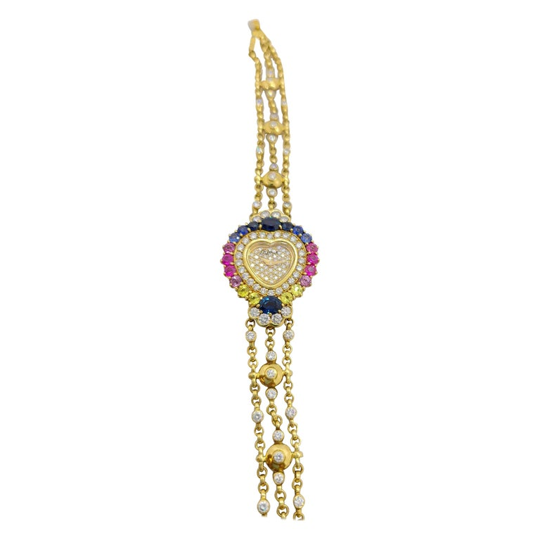 DeLaneau 18 Karat Gold Diamond and Multicolored Sapphires Heart Shaped Watch For Sale
