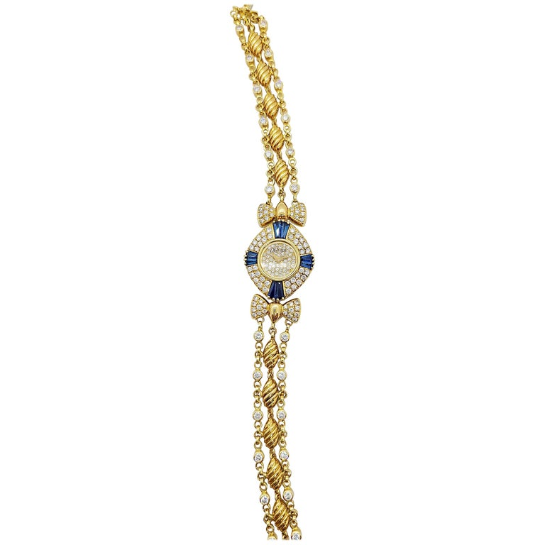 DeLaneau 18 Karat Yellow Gold Diamond and Blue Sapphire Bracelet Watch For Sale
