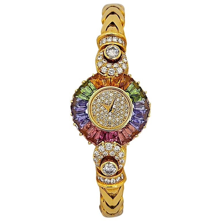 DeLaneau 18 Karat Yellow Gold Diamond and Multicolored Sapphires Bracelet Watch For Sale