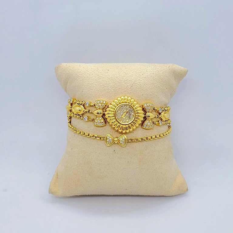 DeLaneau 18 Karat Yellow Gold and Diamond Watch with Diamond Bows For Sale 3