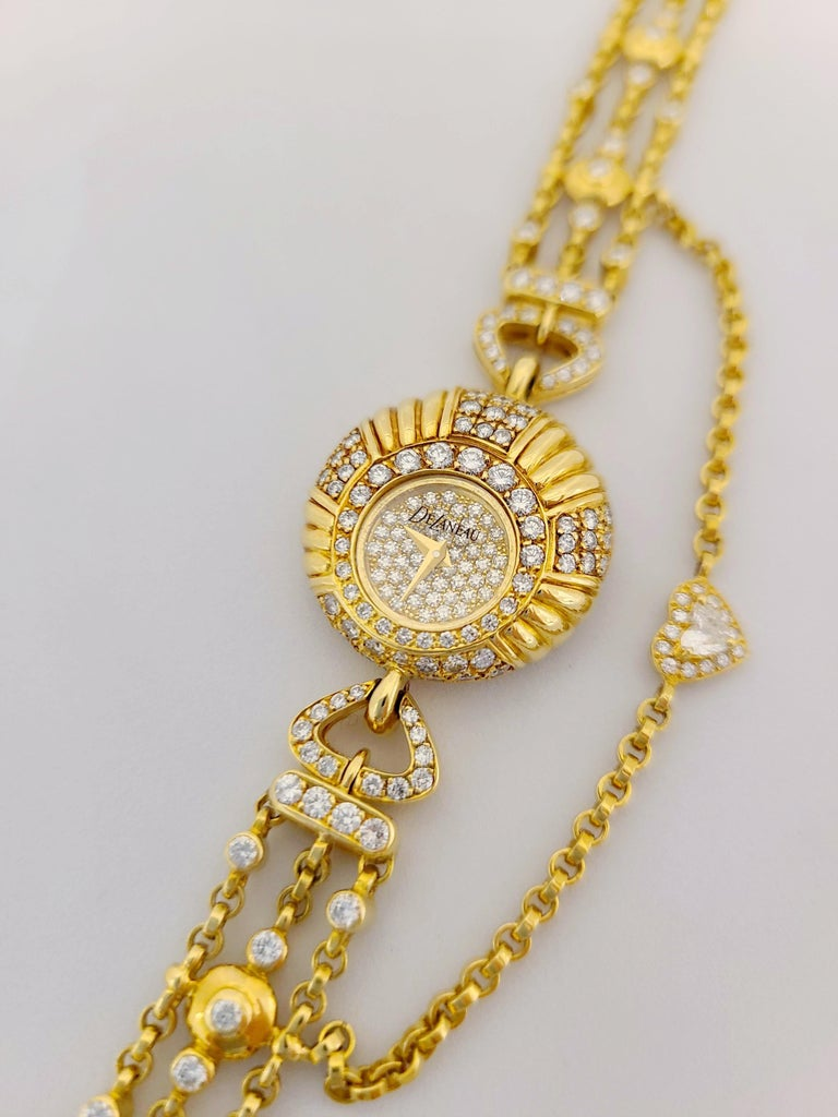 Delaneau 18 Karat Yellow Gold and 3.10 Carat Diamond Bracelet Watch For Sale 4