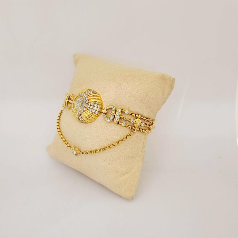 Delaneau 18 Karat Yellow Gold and 3.10 Carat Diamond Bracelet Watch For Sale 5