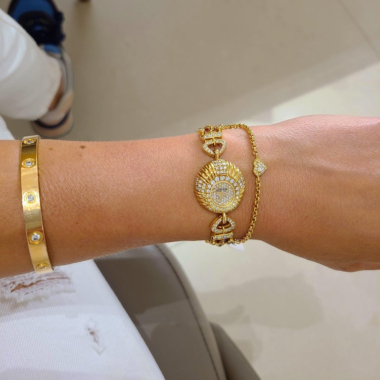 Contemporary Delaneau 18 Karat Yellow Gold and 3.10 Carat Diamond Bracelet Watch For Sale