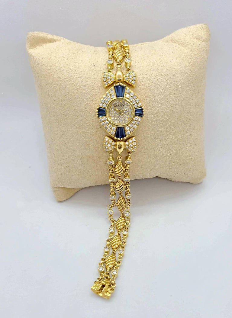 DeLaneau 18 Karat Yellow Gold Diamond and Blue Sapphire Bracelet Watch In New Condition For Sale In New York, NY