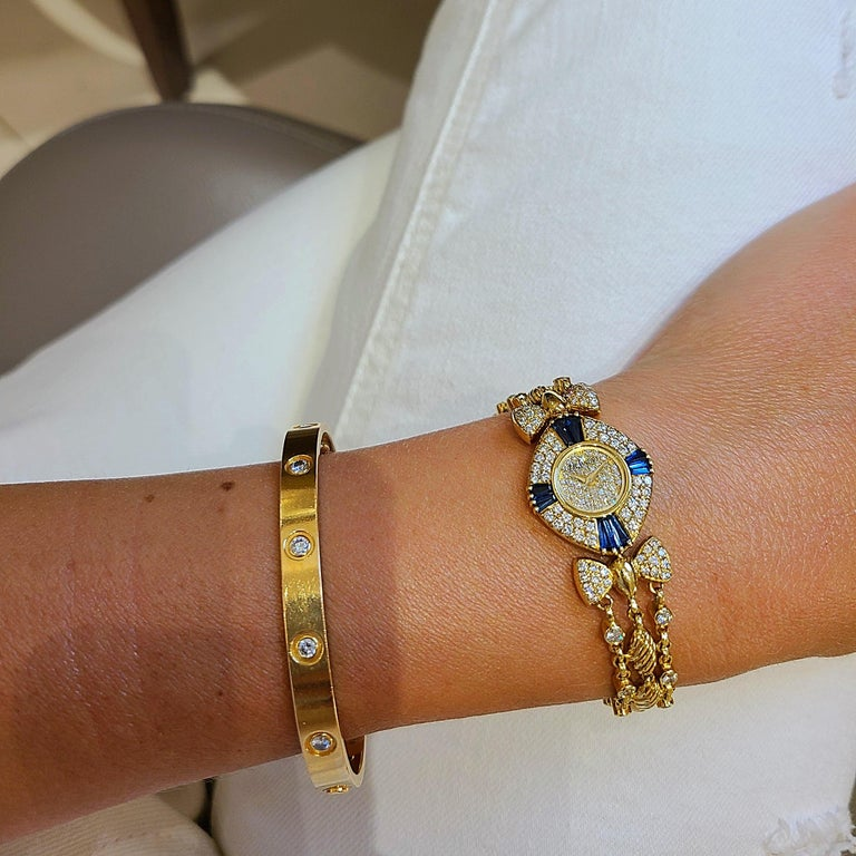 Women's or Men's DeLaneau 18 Karat Yellow Gold Diamond and Blue Sapphire Bracelet Watch For Sale