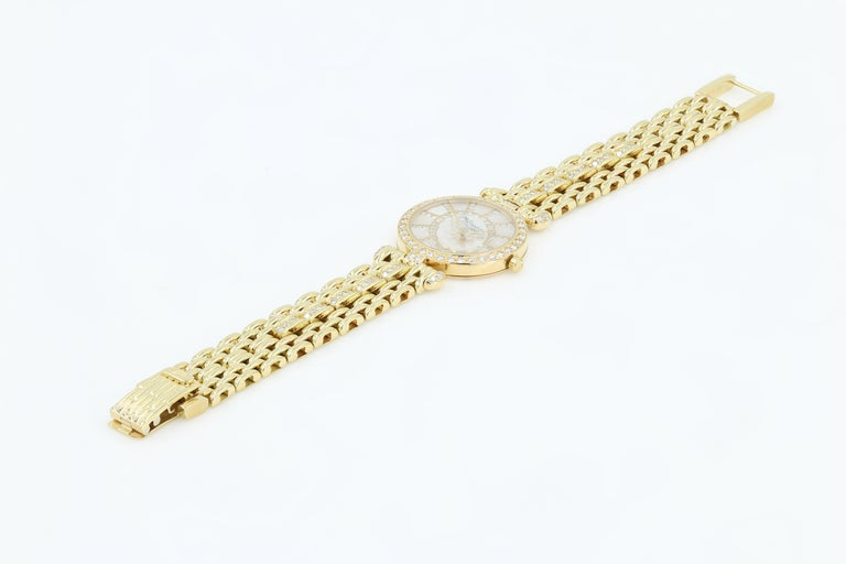 Women's DeLaneau 18kt Yellow Gold & Diamond Bracelet Watch w/Faceted Crystal & MOP Dial For Sale
