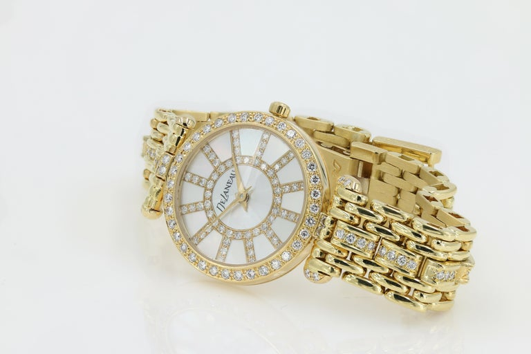 DeLaneau 18kt Yellow Gold & Diamond Bracelet Watch w/Faceted Crystal & MOP Dial For Sale 2