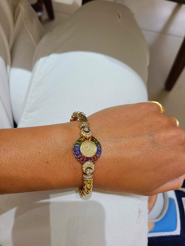 Contemporary DeLaneau 18 Karat Yellow Gold Diamond and Multicolored Sapphires Bracelet Watch For Sale
