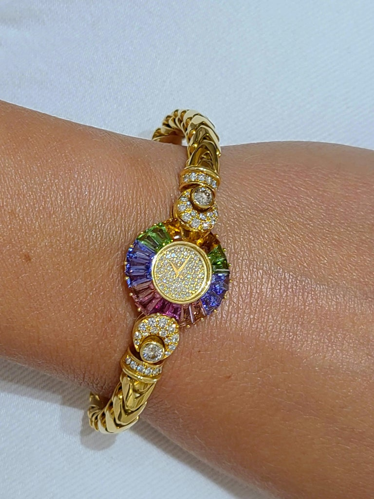 DeLaneau 18 Karat Yellow Gold Diamond and Multicolored Sapphires Bracelet Watch For Sale 1