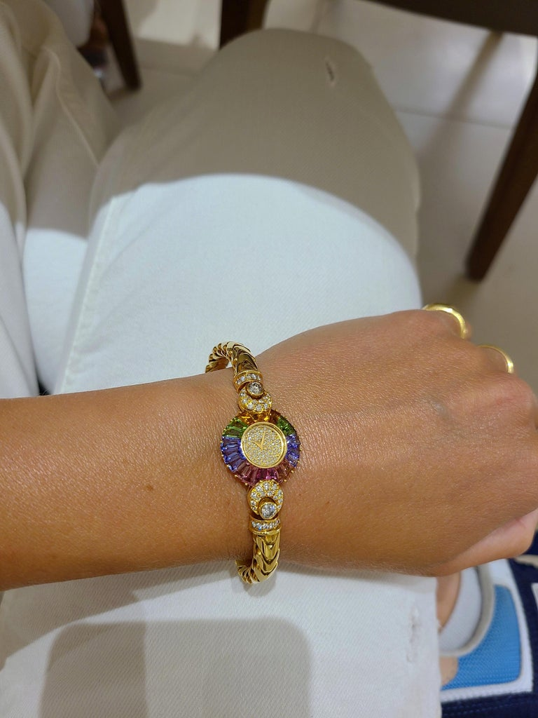 DeLaneau 18 Karat Yellow Gold Diamond and Multicolored Sapphires Bracelet Watch For Sale 2
