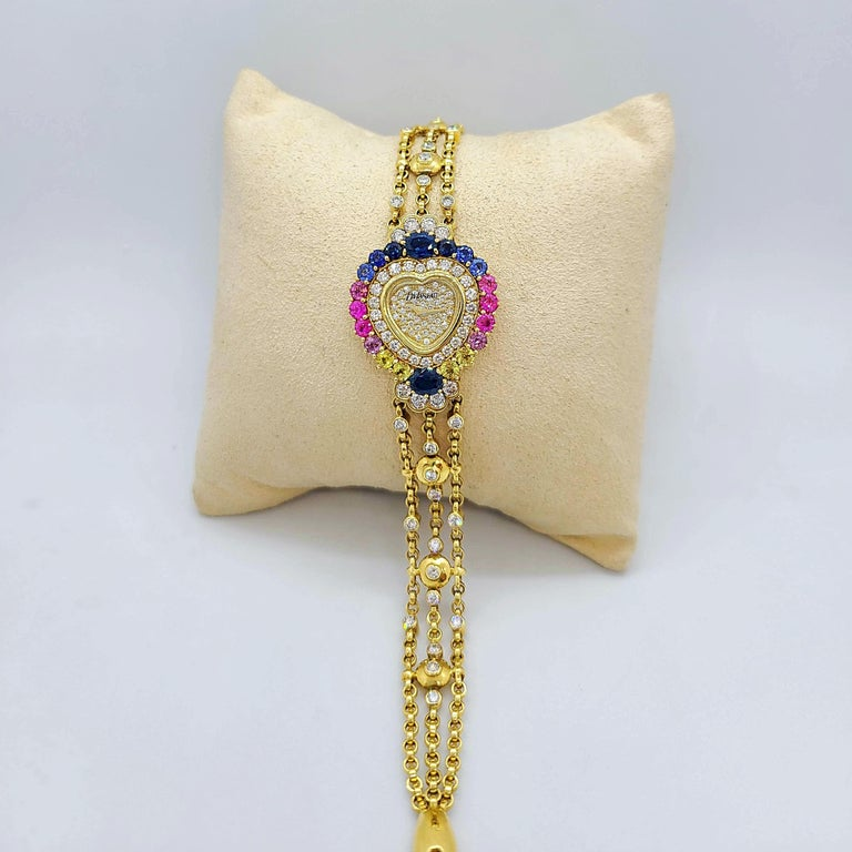 Contemporary DeLaneau 18 Karat Gold Diamond and Multicolored Sapphires Heart Shaped Watch For Sale