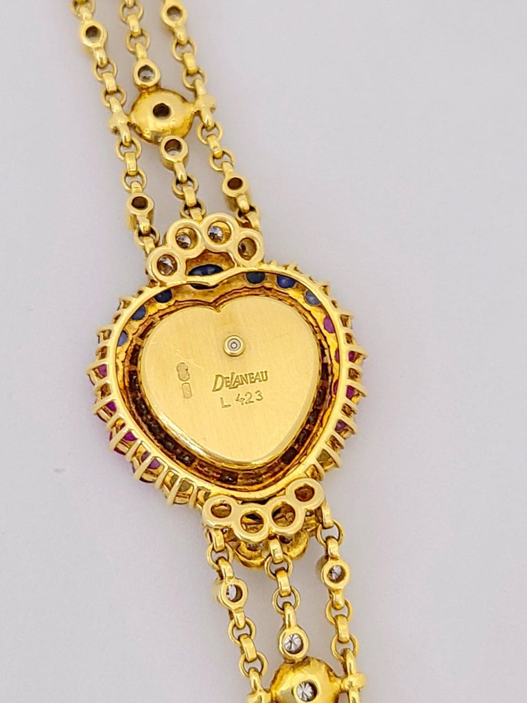 Round Cut DeLaneau 18 Karat Gold Diamond and Multicolored Sapphires Heart Shaped Watch For Sale
