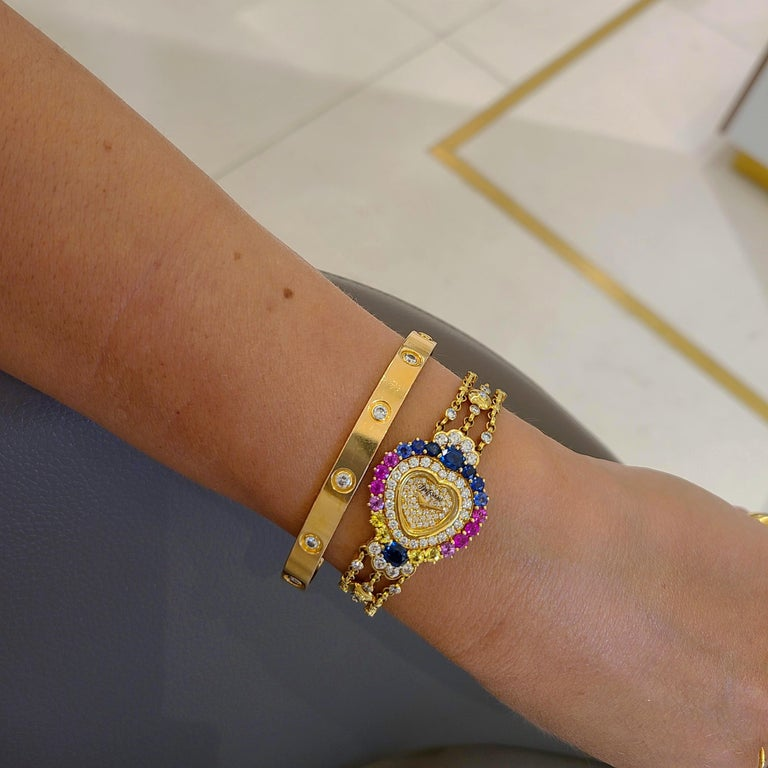 DeLaneau 18 Karat Gold Diamond and Multicolored Sapphires Heart Shaped Watch In New Condition For Sale In New York, NY